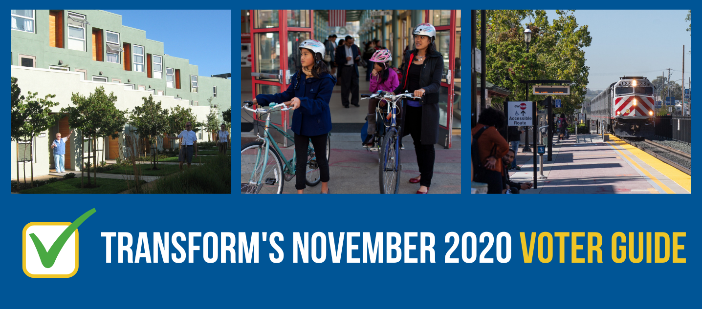 "Three images on a blue background of new housing, woman and children on bikes at a train station, and Caltrain approaching a station with the words ""TransForm's November 2020 Voter Guide"""