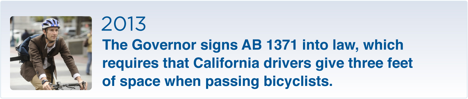 2013 the Governor signs AB 1371: give cyclists 3 feet
