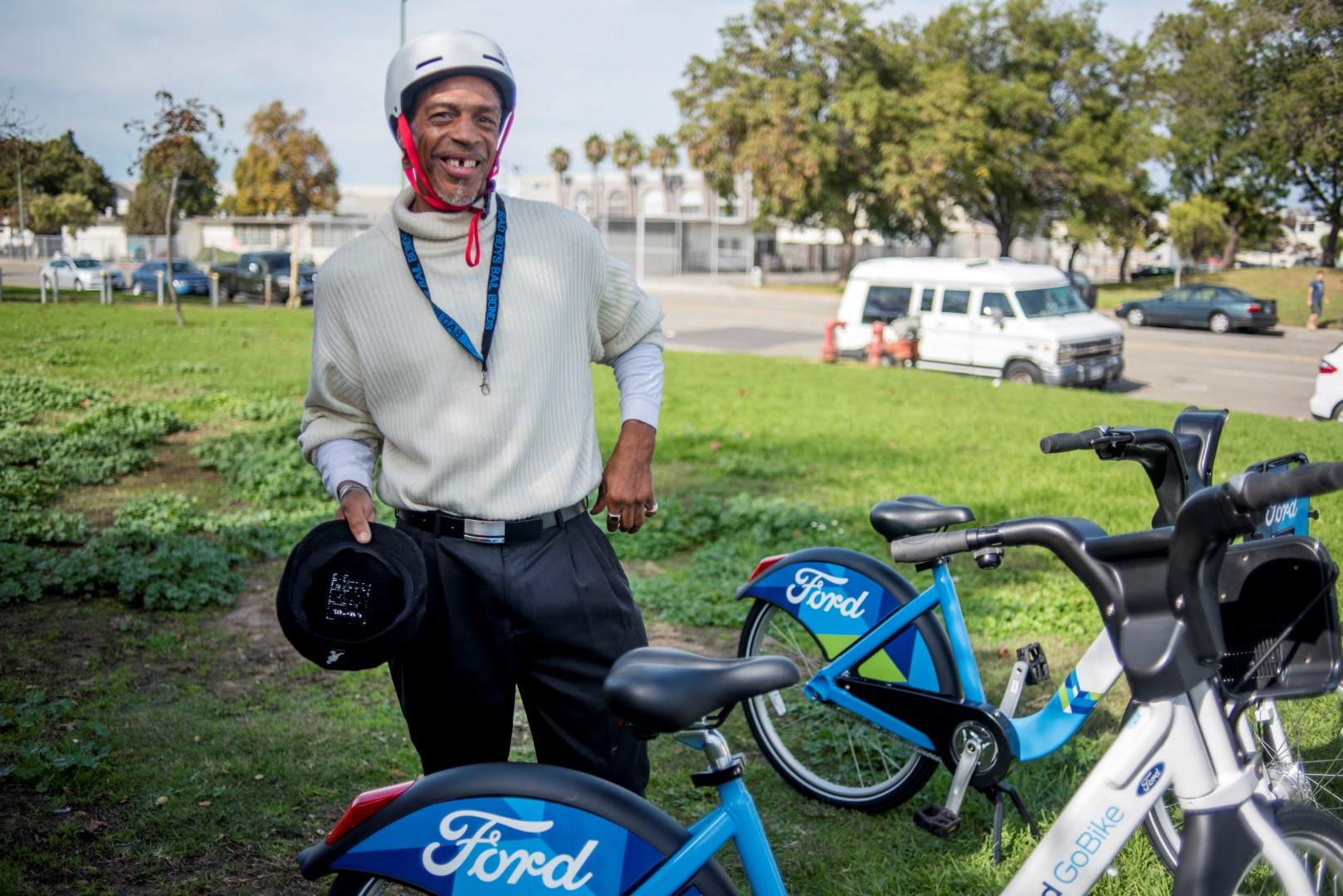Image: a man tries out a Ford Go Bike. Photo: Pamela Palma Photography