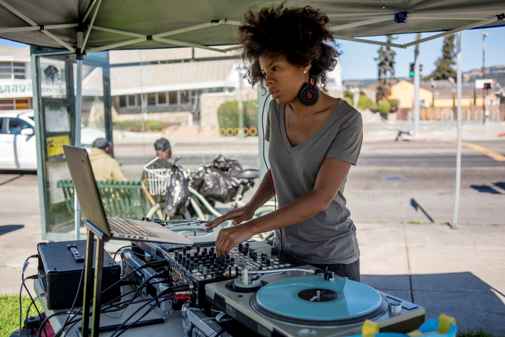 Image: a DJ at OakMob. Photo: Pamela Palma Photography