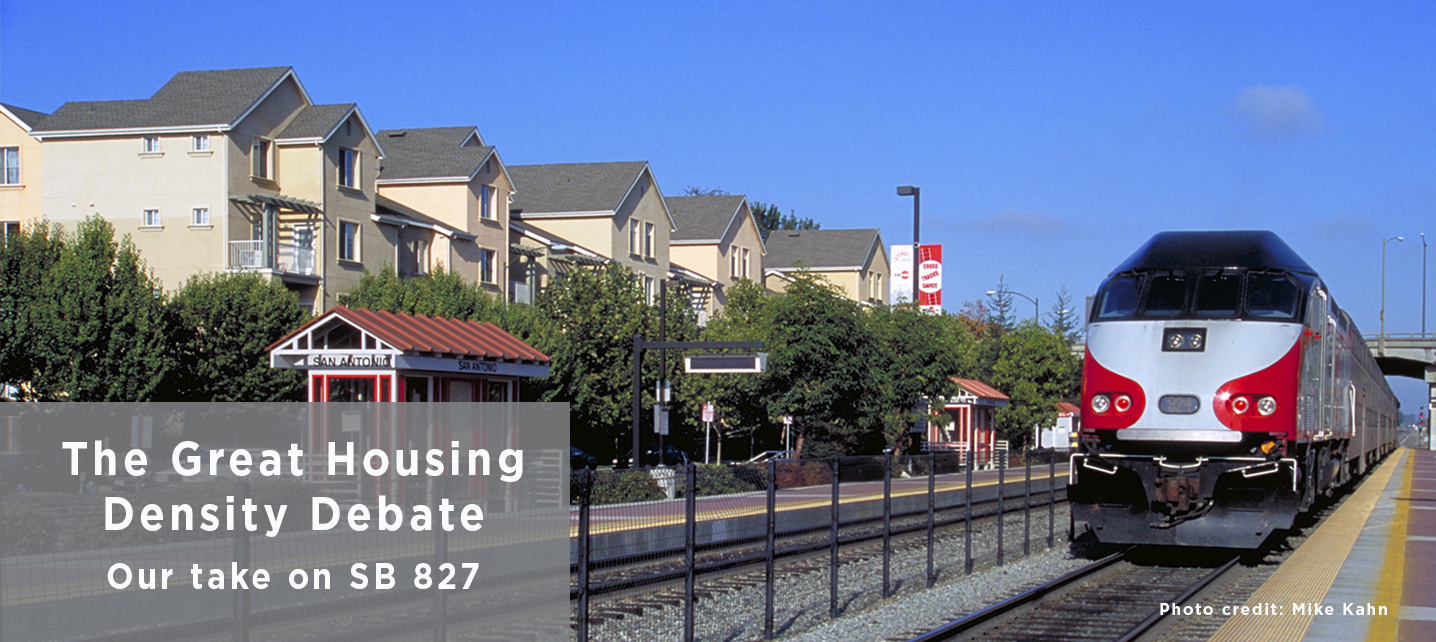 Housing and Caltrain, photo credit Mark Kahn