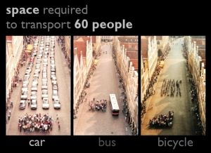 Buses and bikes are more efficient, economical, and sustainable ways to get around than cars.