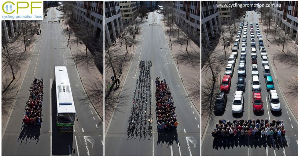 Thesame number of passengers on one bus would fill a whole city block if they were to drive alone.