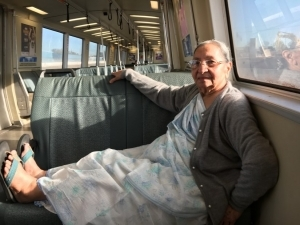 Nans riding BART for the first time.