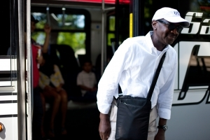 A man rides the bus in the South Bay. Photo credit Brandon Matthews 2011.