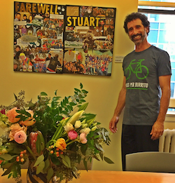 Stuart with a farewell flowers and collage