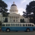 Bus in front of Sacramento capital building