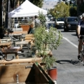 A bicyclist enjoys PARKing Day in San Jose