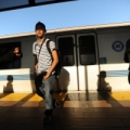 BART platform with people and train