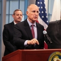 Image: Governor Jerry Brown speaking. Photo: Cal OES