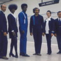 BART conductors at Lake Merritt station show off their stylish uniforms in the 1970's. Photo: BART