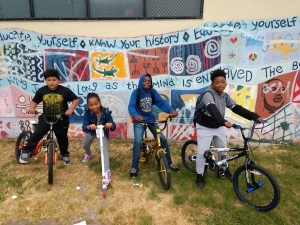 Students on Bike to School Day at Futures Elementary in Oakland