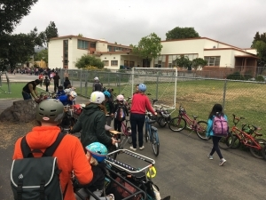 Bike Train rolls up to school in Berkeley.