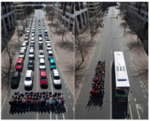 Comparing 60 people driving versus riding a bus