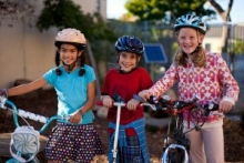 Kids participating in Safe Routes to School programs