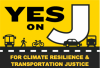 Yes on J logo - for climate resilience and transportation justice
