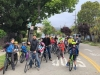 "Berkeley parents and children form a ""bike train"" on Bike to School Day"